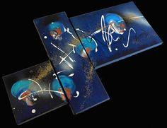Tableau abstrait triptyque comètes bleues par TableauxAxelleBosler
