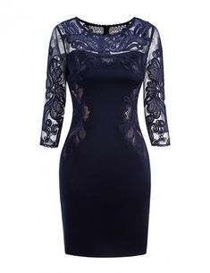 32ba969400 Classy Navy Blue Lace Long Sleeve Cocktail Dresses For Women Wedding Guest