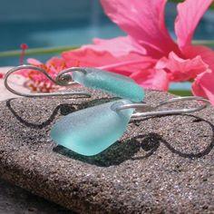 Aqua Marine Seaglass Earrings