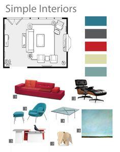 Total Room Interior Design Board With Floor Plan. 250.00, Via Etsy.