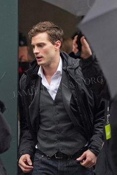 Jamie Dornan on the set of Fifty Shades