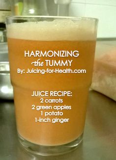 HARMONIZING THE TUMMY  Potato is one of the most nourishing foods. This simple juice combo tastes milky, and has many health benefits:  - Relieves inflammatory, arthritis and rheumatism pains - Harmonizes the stomach, relief for stomach upset - Neutralizes body acidity - Lowers high blood pressure - Treats gastritis - Rebuilds gut flora health - Promotes good bowel movement  JUICE RECIPE: - 2 carrots - 2 green apples - 1 potato (juice raw) - 1-inch ginger root ** Use ORGANIC whenever…