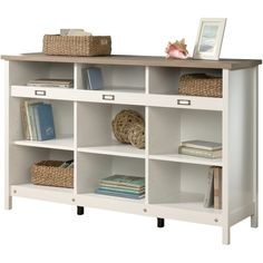 Adept Storage Storage Credenza in Soft White - Sauder 417653417653 Features: Enhance any room with this attractive and versatile storage credenza The cube storage style offers multiple shelves for tucking away baskets and other household itemsCubbyhole st Cube Bookcase, Etagere Bookcase, Bookcase Storage, Bookshelves, Open Bookcase, Storage Cabinets, Cupboards, Cubby Storage, Storage Spaces