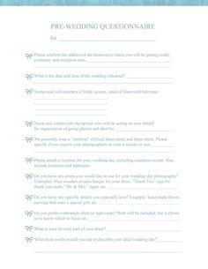 Pre-Wedding Consultation Form   For Photographers   angelhouse photography