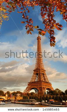 Eiffel Tower with boats on Seine in Paris, France - stock photo