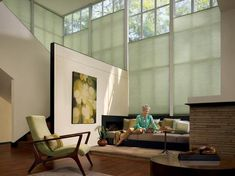 Cover large loft sized windows with the energy efficient style of Duette® honeycomb shades ♦ Hunter Douglas window treatments Tall Window Treatments, Contemporary Window Treatments, Window Coverings, Tall Windows, Modern Windows, Blinds For Windows, Honeycomb Blinds, Honeycomb Shades, Drapery Designs