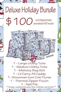 NOVEMBER SPECIAL - Deluxe Holiday Bundle (Products: Large Utility Tote, Medium Utility Tote, Memory Bag Set, Littles Carry-All Caddy, Coin Purse, Thermal Zipper Pouch, Nail File).  https://www.mythirtyone.com/staciedicharry