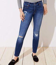 df00877d28a LOFT Curvy Destructed Slim Pocket Skinny Jeans in Mid Indigo Wash