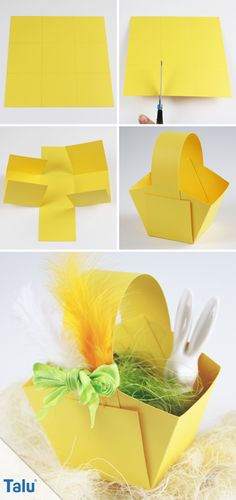 Make Easter baskets - Instructions + templates for Easter eggs - DIY-Ideen - Basteln und Gestalten - Paper Easter Art, Easter Crafts For Kids, Diy For Kids, Easter Eggs, Easter Baskets To Make, Diy And Crafts, Paper Crafts, Spring Crafts, Diy Flowers