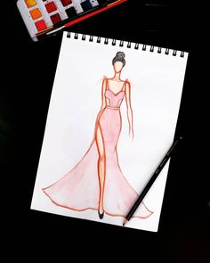 Dress Design Sketches, Fashion Design Sketchbook, Fashion Design Portfolio, Fashion Design Drawings, Fashion Sketches, Fashion Illustration Template, Dress Illustration, Fashion Illustration Dresses, Fashion Model Drawing