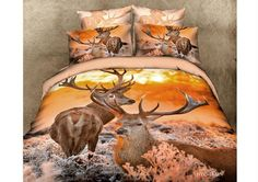 bedding sets are so cool and they're loved by people of all ages. Cheap bedding collections at Ericdress are nice-looking and you're supposed to buy bedding here. Deer Bedding, Animal Print Bedding, 3d Bedding Sets, Cotton Bedding Sets, Bed Linen Sets, Linen Bedding, Bed Linens, Comforter Sets, Cotton Duvet