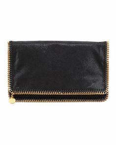 Falabella Fold-Over Clutch Bag, Black by Stella McCartney at Bergdorf Goodman.