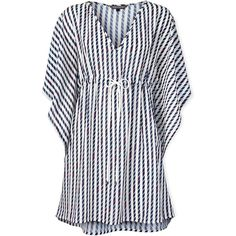 Designer Clothes, Shoes & Bags for Women Nautical Tops, Navy Tunic, Beach Tunic, Beach Tops, Top Pattern, V Neck Tops, Tommy Hilfiger, Navy Blue, Polyvore