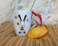 Mug Renne cadeau Noël en céramique décoré à la main Noir et Or