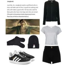 A fashion look from January 2017 featuring Tomas Maier hoodies, RE& t-shirts and River Island shorts. Browse and shop related looks. Kpop Outfits, Edgy Outfits, Korean Outfits, Simple Outfits, Girl Outfits, Cute Outfits, Fashion Outfits, Jungkook Ideal Type, Kpop Fashion