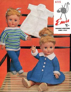 Items similar to PDF Vintage Doll Clothes Premature Baby Knitting Pattern Teenage Doll EMU 6115 Matinee Coat Dress Stripey Dolman Tiny Tears Pedigree on Etsy Baby Knitting Patterns, Baby Patterns, Crochet Patterns, Crochet Baby, Knit Crochet, Premature Baby, Outdoor Fashion, Old Dolls, Pretty Dolls