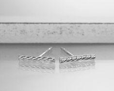 Tiny minimalist silver bar earrings - Bar stud earrings - Silver bar earrings - Dainty sterling silver earstuds - Handmade silver earrings by HopeADesign on Etsy Bar Stud Earrings, Silver Earrings, Silver Bars, Minimalist Earrings, Minimalist Design, Handmade Silver, Sterling Silver, Stuff To Buy, Jewelry