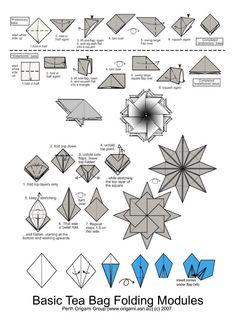 Basic Tea Bag Folding Modules Basic folding modules for tea bags Origami Modular, Origami Folding, Useful Origami, Origami Paper, 3d Paper, Diy Paper Bag, Paper Bag Crafts, Origami Ball, Origami Stars