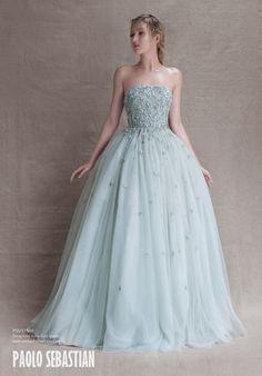 Gorgeous powder blue wedding dress by Paolo Sebastian   http://www.weddingpartyapp.com/blog/2014/10/29/paolo-sebastian-wedding-dresses-whimsical/