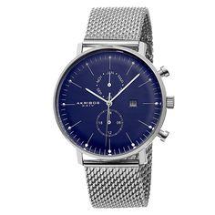 Akribos Xxiv Men's Swiss Quartz Dual-Time Mesh Silver-Tone Strap Watch