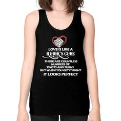 Loves lke a rubik cube Unisex Fine Jersey Tank (on woman)