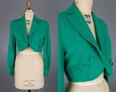 vintage 1950s cropped jacket | green bolero
