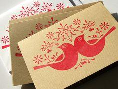 6 Hand Printed 'Birds & Berries' Christmas Cards. | deebeale