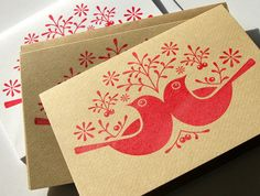 6 Hand Printed 'Birds & Berries' Christmas Cards. by deebeale