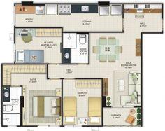 Casa com três quartos em planta