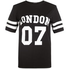 Teens Black London Style Oversized Baseball T-Shirt ❤ liked on Polyvore featuring tops, t-shirts, oversized t shirt, black top, oversized black tee, black baseball tee and baseball t shirt