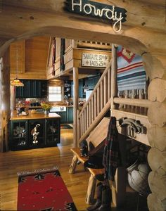 """TLC Home """"Cabin Decor Idea: East Coast Cowboy""""  I like the Howdy sign need to make one for Kyla!"""