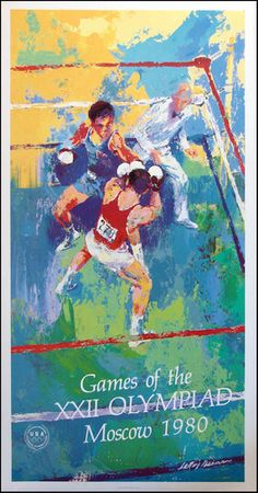 LeRoy Neiman Vintage Boxing Poster from the 1980 XXII Olympiad.  What is rare about this is that the United States boycotted the games, but the posters had been done close to a year in advance and never sold.