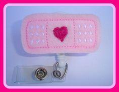Badge Reel ID Holder Retractable - Stick it - pink felt band aid - Nurse RN doctor pediatrician school nurse on Etsy, $6.25