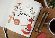 Bullet Journal cover september. Hello September drawing / painting. Click link for more inspiration.