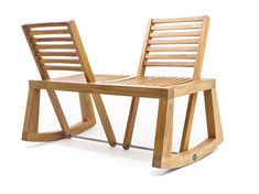 Double view bench with pivoting backrest.