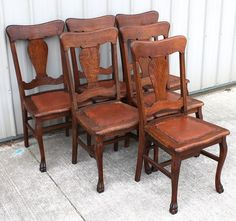 6 1905 1915 Old Finish Quartersawn Oak Claw Foot Vase T Back Dining Room Chairs