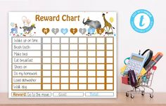 Editable Party Animals Reward Chart, Party Animals instant download invitation,You print birthday invitation, Party Animals DIY party Party Animals, Animal Party, How To Make Bed, Diy Party, Birthday Invitations, Chart, Templates, Handmade Gifts, Etsy