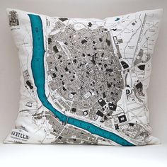 Made to Order SEVILLA, Spain 15 x15 Map Pillow Cover, Linen Blend    TO ORDER: PLEASE CONVO ME and I WILL SET UP A CUSTOM LISTING FOR YOU. Please allow