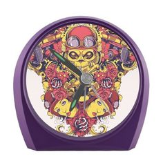Alarm Clock Skull and Flowers