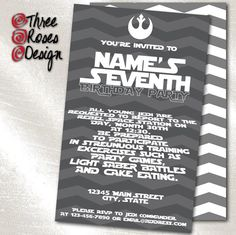 print it yourself or add print package  star wars rd birthday, invitation samples