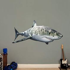 Great White Shark Fathead Wall Decal - Totally getting one of these for my bedroom wall!