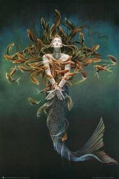 Mermaid Metamorphosis Art Poster Print by Sheila Wolk Fantasy Mermaids, Mermaids And Mermen, Fantasy Kunst, Fantasy Art, Gouts Et Couleurs, Metamorphosis Art, Mermaid Fairy, Kunst Poster, Poster Prints