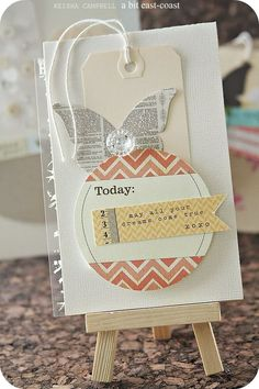 collage card with manila tag