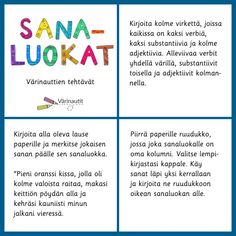 Sanaluokat - Värinautit Finnish Language, Primary English, Grammar, Literacy, Literature, Homeschool, Classroom, Teaching, Words