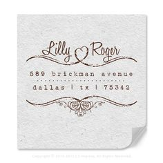Original Personalized Address Rubber Stamp With Flourished Heart Decorative Border Available In Wood Mounted Or Self-Inking Stamp Style