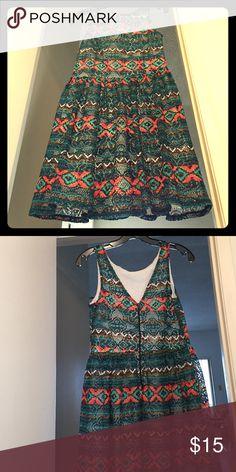 Retro hippie style dress Multi color flare. Says medium but fits more like small(6) Ish Xhilaration Dresses Mini