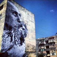 Part of Jose Parla and JR's street art in Cuba.