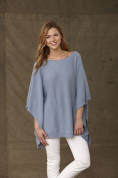 Cotton Cashmere Light blue Poncho £95