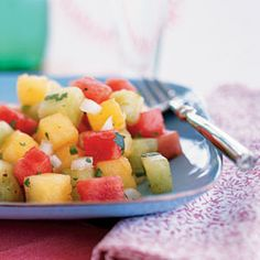 The Best Foods For All-Day Energy Picante Three-Melon Salad Recipe Fruit Recipes, Whole Food Recipes, Salad Recipes, Cooking Recipes, Honeydew Recipes, Watermelon Recipes, Healthy Snacks, Healthy Eating, Healthy Recipes