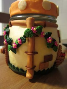 Polymer Clay Covered Fairy House Jar